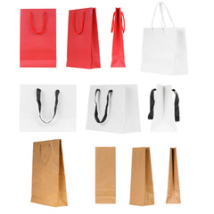 Blank shopping bag set isolated on a white background