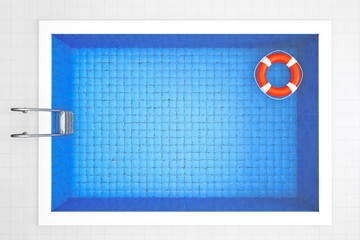 Empty Swimming Pool with Lifebuoy