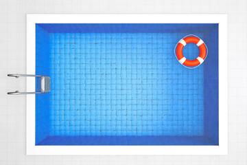 Empty Swimming Pool with Lifebuoy
