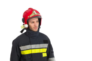 Close up of fireman looking away