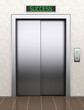 To success concept. Modern elevator with closed doors