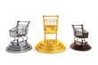 Golden, silver and bronze shopping carts