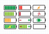 Set of battery charge level indicators