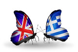 Two butterflies with flags UK and Greece