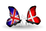 Two butterflies with flags UK and Danmark poster