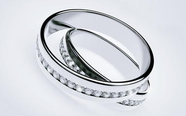 Wedding rings Platinum with diamonds