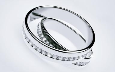 Wedding rings Platinum with diamonds