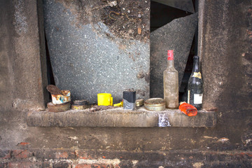 Bottles on windowsill