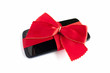 Smart Phone with Red Ribbon and Bow isolated
