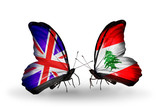 Two butterflies with flags UK and Lebanon