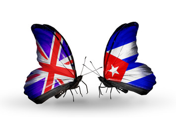 Two butterflies with flags UK and Cuba
