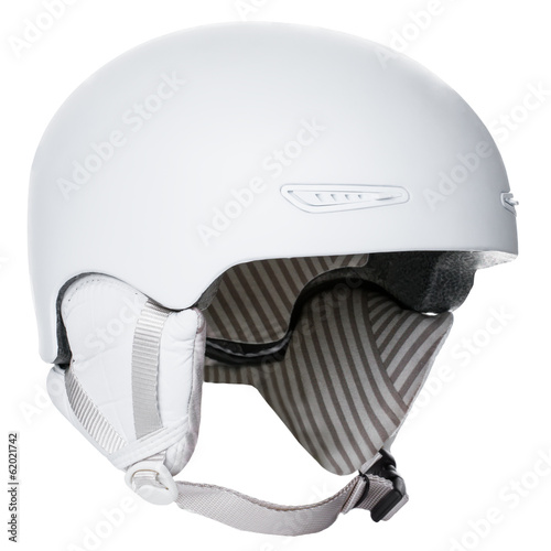 White helmet with copy space isolated on white background