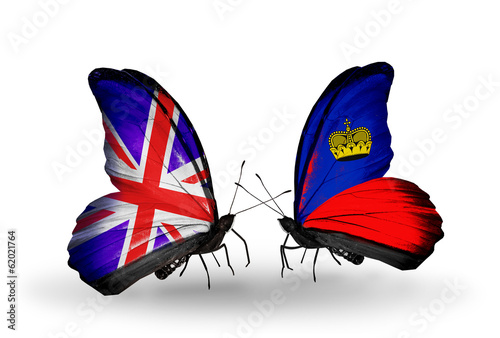 Two butterflies with flags UK and Liechtenstein