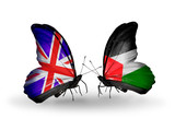 Two butterflies with flags UK and Palestine