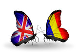 Two butterflies with flags UK and Chad, Romania