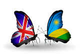 Two butterflies with flags UK and Rwanda