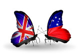 Two butterflies with flags UK and Samoa