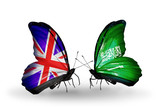 Two butterflies with flags  UK and Saudi Arabia
