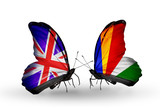 Two butterflies with flags UK and Seychelles