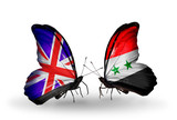 Two butterflies with flags  UK and Syria