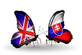 Two butterflies with flags UK and Slovakia