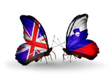 Two butterflies with flags UK and Slovenia