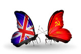Two butterflies with flags  UK and Soviet Union
