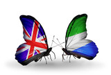 Two butterflies with flags UK and Sierra Leone