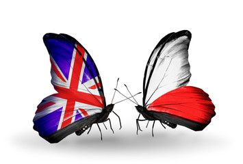 Two butterflies with flags UK and Poland