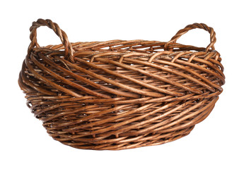 Empty wicker basket. Isolated over white