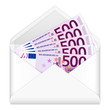 envelope and five hundred euro banknotes