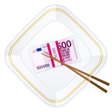 plate chopsticks and five hundred euro pack