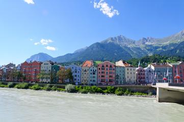 Inn river and Cityscape of Innsbruck in Austria