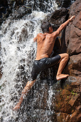 Wasserfall-Kletterer