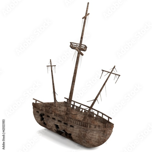 realistic 3d render of shipwreck