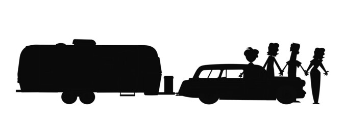 family going on vacation in silhouette