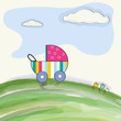 cute stroller on a meadow, baby shower card
