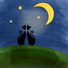 two cats on a meadow under the moon