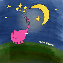 cute pink elephant with a bouquet of stars