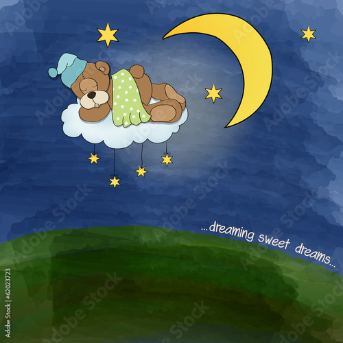 baby teddy bear sleeping on cloud