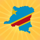Democratic Republic of Congo map flag on sunburst illustration