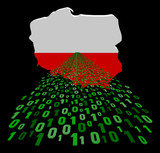 Poland map flag with binary foreground illustration
