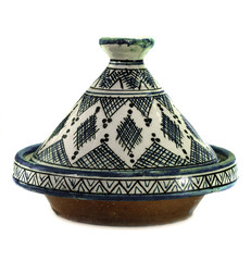 Morocco : Traditional decorated tagine on white background