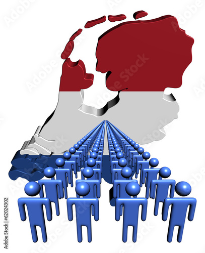 Lines of people with Netherlands map flag illustration