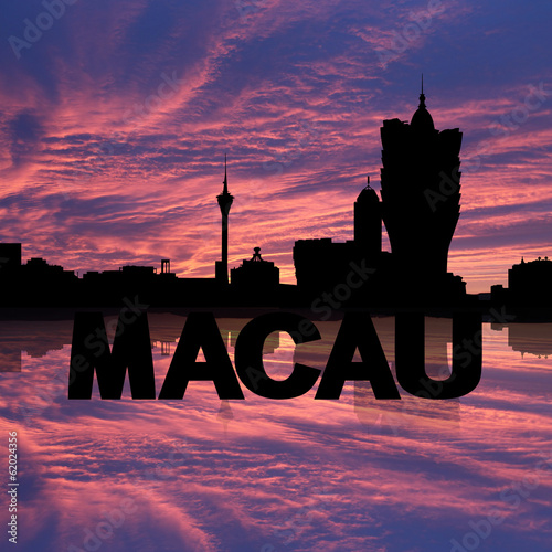 Macau skyline reflected with text sunset illustration