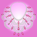 feminine vintage necklace with pink gems