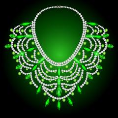 feminine vintage necklace with green gems