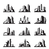 Modern buildings set - vector illustration