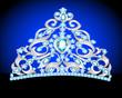 tiara crown women's wedding with a blue stone