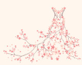 spring season dress made of flower branches